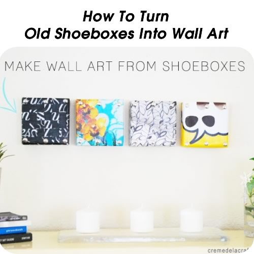 how to turn old shoeboxes into wall art. Black Bedroom Furniture Sets. Home Design Ideas