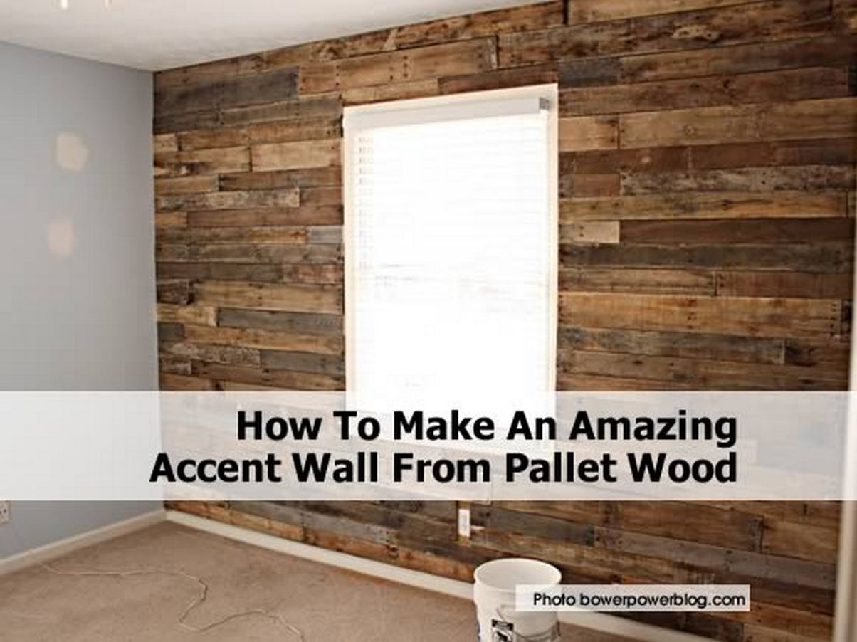 How to make an amazing accent wall from pallet wood - Wooden pallet accent wall ...