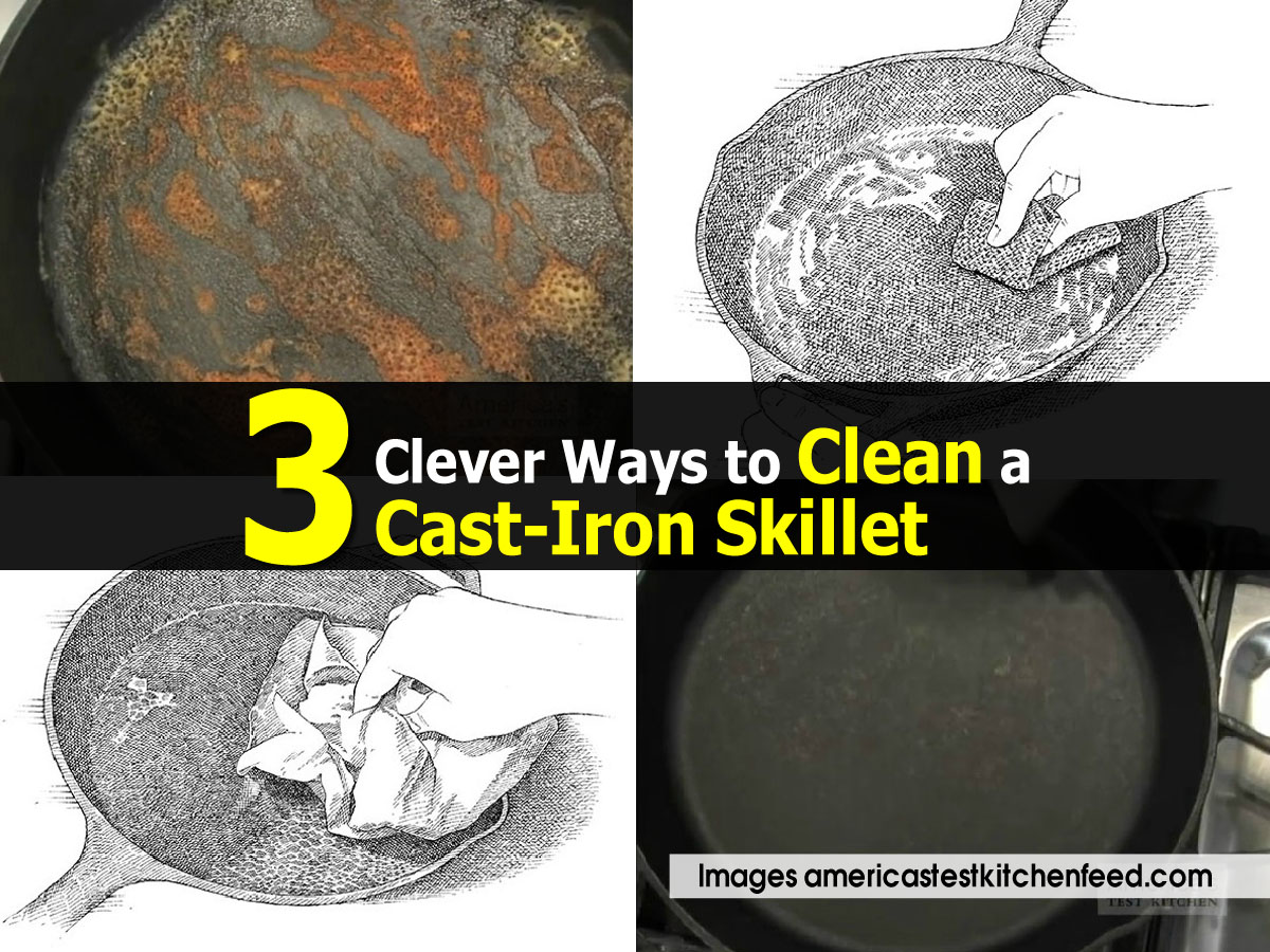 how to clean outside of cast iron skillet