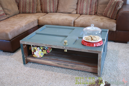 How to make a coffee table out of an old door for Old door into coffee table