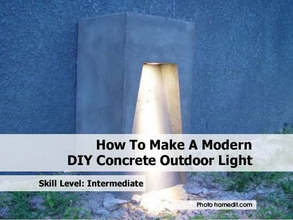 How to make a modern diy concrete outdoor light for Diy concrete lamp