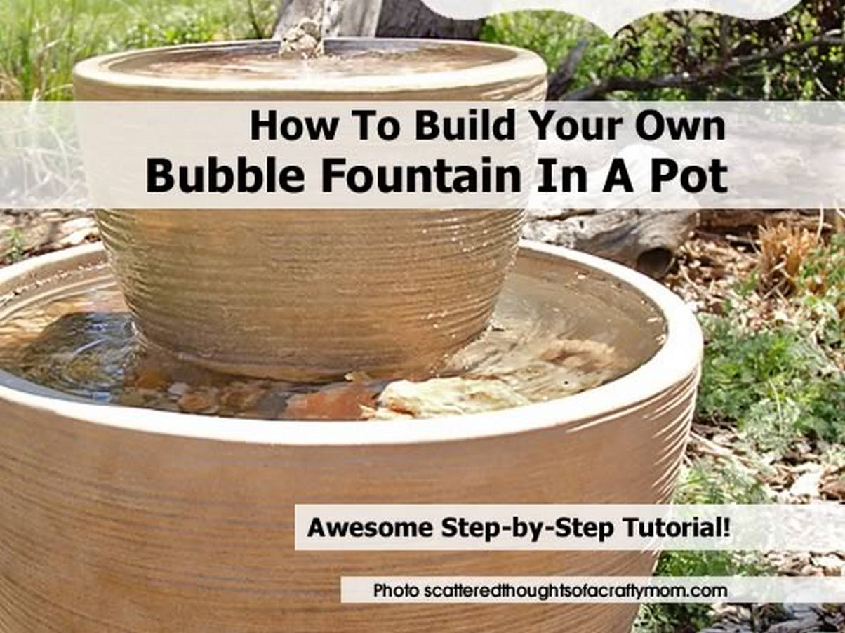 Garden fountains outdoor water features garden fountain small fountain - How To Build Your Own Bubble Fountain In A Pot