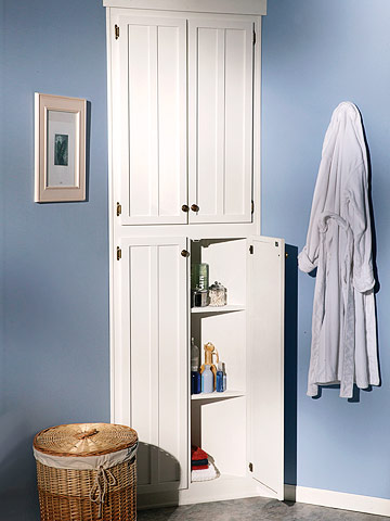 how to build an elegant corner bathroom cabinet. Black Bedroom Furniture Sets. Home Design Ideas