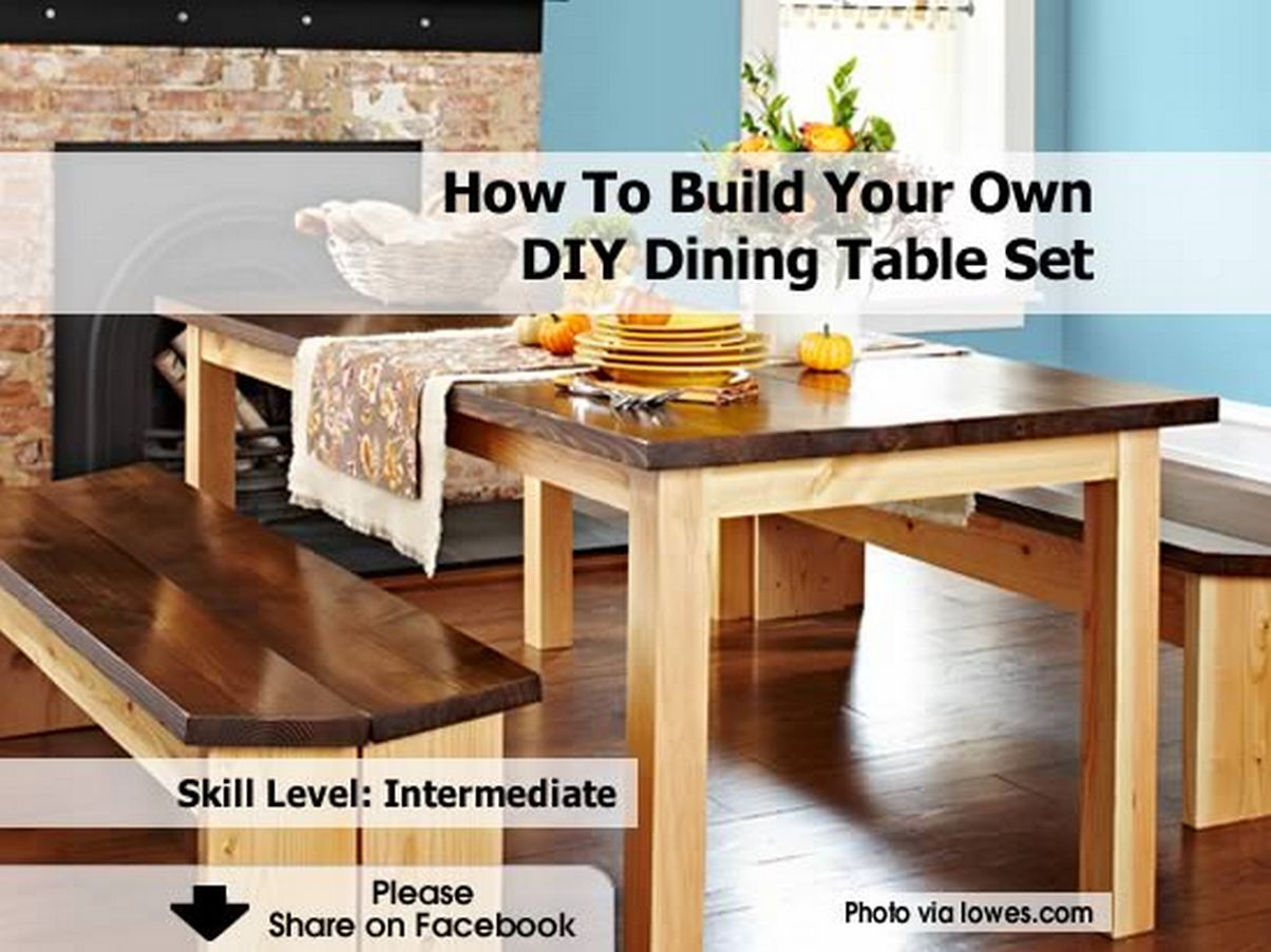 How To Build Your Own DIY Dining Table Set. Full resolution‎  pic, nominally Width 1204 Height 902 pixels, pic with #713F22.