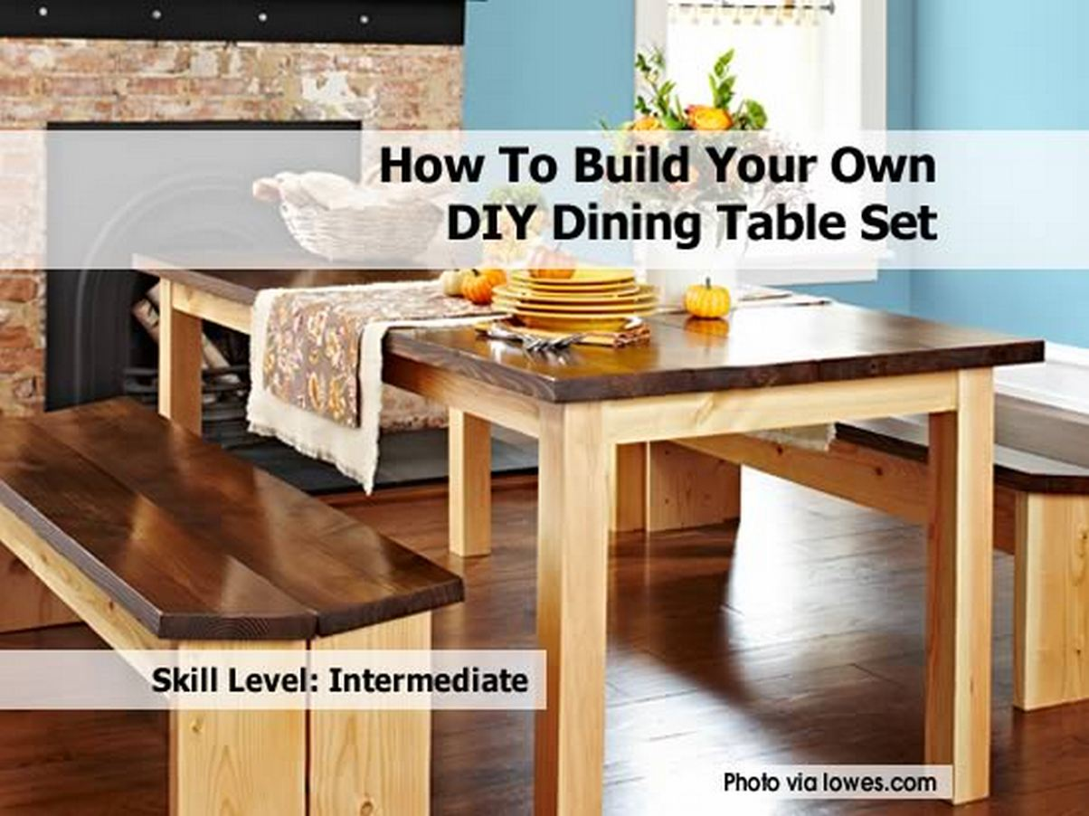 how to build your own diy dining table set. Black Bedroom Furniture Sets. Home Design Ideas
