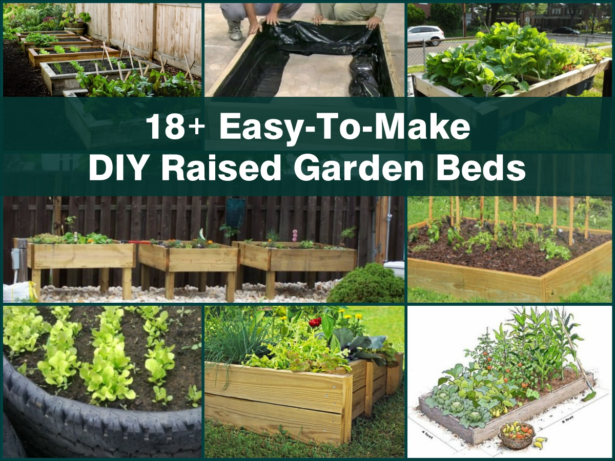 18 easy to make diy raised garden beds for Simple diy garden designs