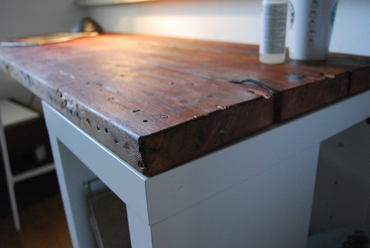 How To Create A Reclaimed Wood Desk With An Ikea Basis