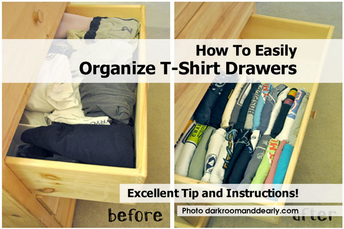 For shirts, I use my clothes folder and then fold in half lengthwise again (so if you are looking at your shirt, it would just be half the length). Depending on the width and depth of your drawers, you may have to fold them an additional time.