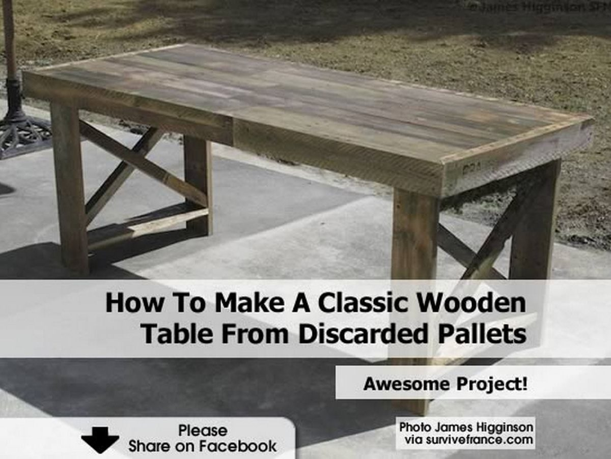 How To Make A Classic Wooden Table From Discarded Pallets. Full resolution‎  img, nominally Width 1200 Height 902 pixels, img with #59503D.