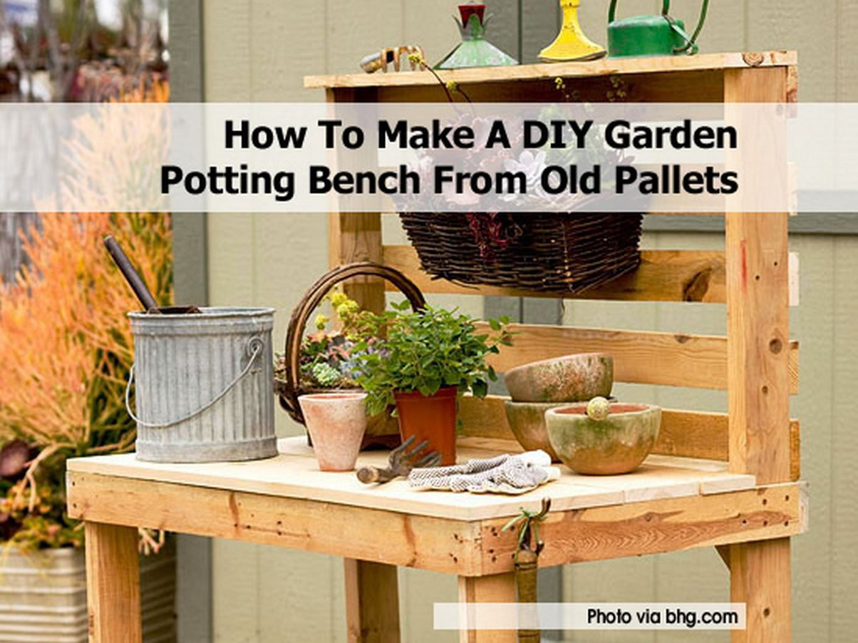 How to make a diy garden potting bench from old pallets - How to make table out of wood pallets ...