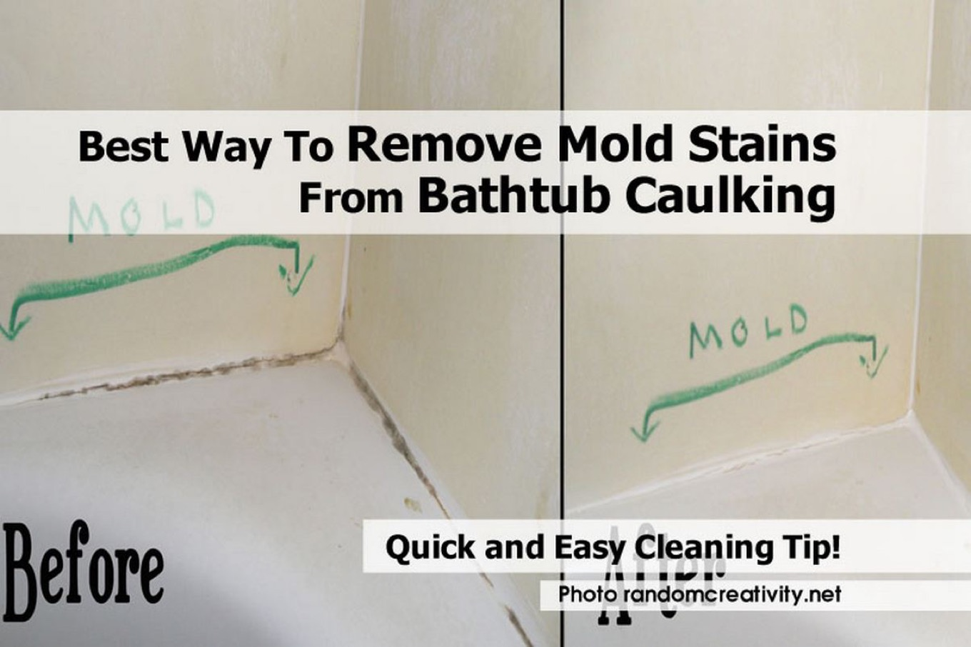 Best way to remove mold stains from bathtub caulking for Best way to clean bathroom