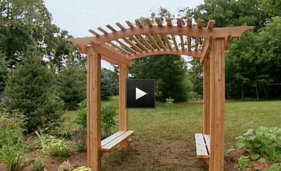 Diy build a garden arbor plans free for Wooden garden arbor designs