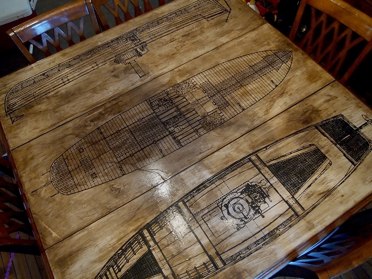 how to make an aged paper decoupage tabletop. Black Bedroom Furniture Sets. Home Design Ideas